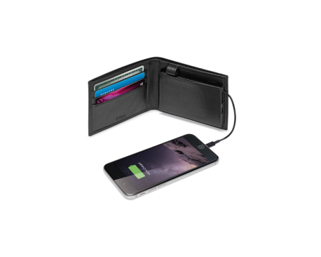 ChargeWallet Men Wallet with 2.500Mah Mobile Charger Lightning